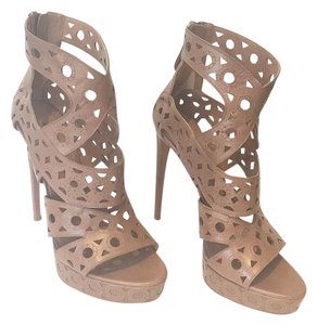 ALAA Leather Cut-out Peep Toe Taupe Platforms