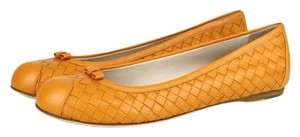 Bottega Veneta Leather Woven Ballet Orange Flats
