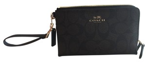 Coach Textured Leather Wristlet in Brown/black