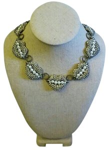 Rhinestone and Pearls Kiss Statement Necklace
