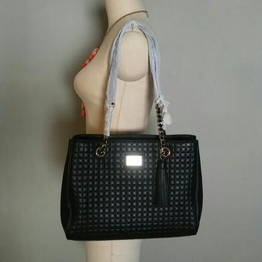 Calvin Klein Hastings Quilted Pebble Tote Black Leather