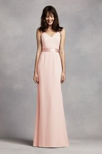 Vera Wang Blush Long V Neck Crepe Gown With Open Back Dress