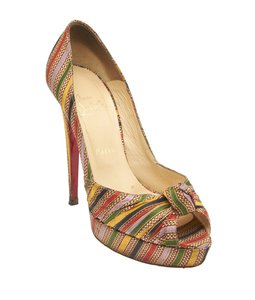 Christian Louboutin Fabric Heels Multi-Color Platforms