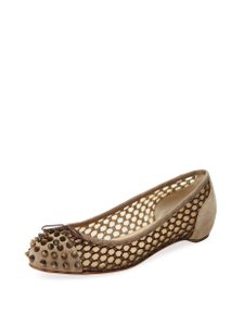 Christian Louboutin Suede Spike Beige Flats