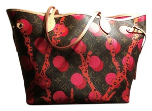Louis Vuitton Neverfull Ramages Sold Out New Tote in Brown/Coral