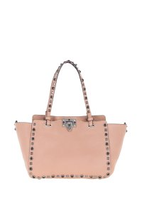 Valentino Leather Rockstud Rolling Tote in Nude