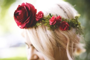 Beautiful Boho Bridal Red Rose Crown