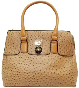 Vecceli Italy Faux Leather Satchel Tote in BEIGE