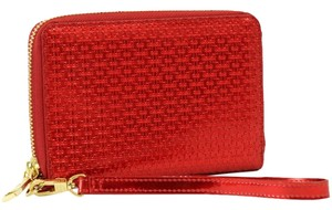 Tory Burch TORY BURCH Metallic Embossed T Red Multi-Task Smartphone Wallet