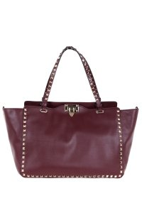 Valentino Leather Tote in Burgundy