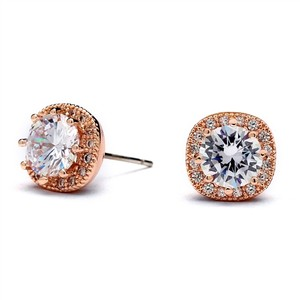 Mariell Rose Gold Cubic Zirconia Cushion Shape 10mm Halo Stud Earrings With Round Cut Solitaire 4556e-rg