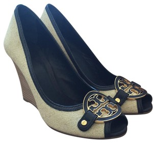 Tory Burch Canvas with navy trim Wedges