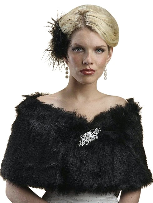 Item - Black Faux Fur Mink Bridal 116w Scarf/Wrap