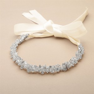 Mariell Rose Gold Slender Headband with Hand-wired Crystal Clusters and Ivory Ribbons 4431hb-i Hair Accessory