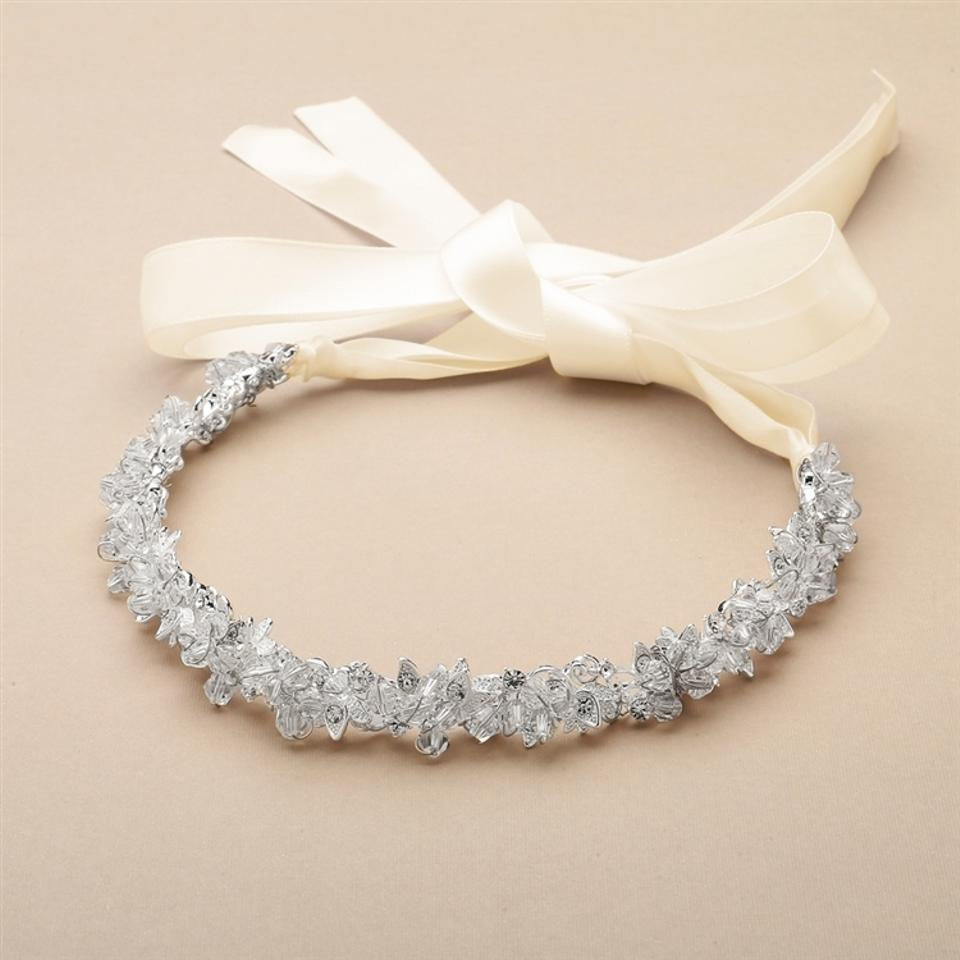 Mariell Rose Gold Slender Headband with Hand-wired Crystal Clusters ...