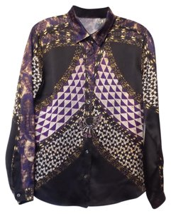 Etro Silk It 46 Large Top Black + Multi-Color
