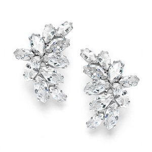 Mariell Shimmering Cubic Zirconia Marquis Cluster Silver Earrings 3598e-rg
