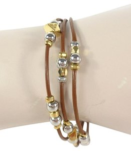 Fossil Fossil JOA00204998 Leather Silver/Gold Triple Strand Chain Bracelet