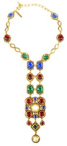 Oscar de la Renta Jeweled Gold Byzantine European Vintage Inspired Necklace