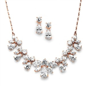 Mariell Multi Pear Shaped Cz Necklace Set With In Rose Gold With Delicate Chain 578s-rg