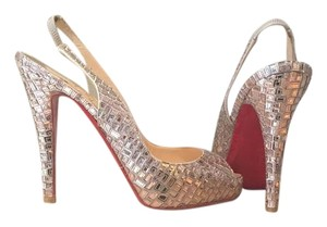 Christian Louboutin Detail Sling Back Peep Toe Silver Mosaique Pumps