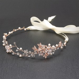 Mariell Handmade Swarovski Bridal Headband With Painted Gold Rose Vines 4386hb-i-rg