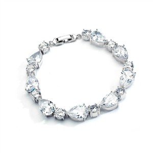 Mariell Cz Pears And Rounds Bridal Or Bridesmaids Silver Bracelet 4374b-rg