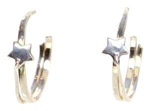 Chanel Chanel Sterling Star Hoop Earrings