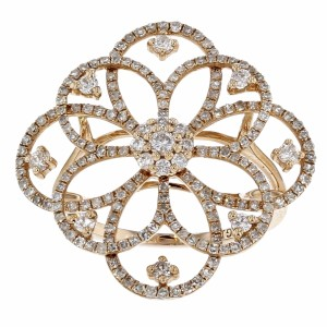 Other 1.00ct Round Cut Diamond 14k Rose Gold Flower Ring 7 G-h Si1-si2