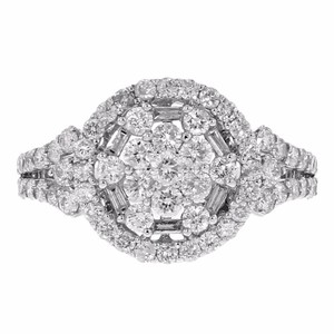 Other 1.00ct Round Cut Diamond 14k White Gold Round Ring 7 G-h Si1-si2
