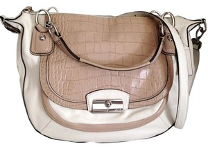Coach Leather Cream Snakeskin Satchel in Taupe/Cream