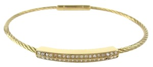 Fossil Fossil JOF00155710 Thin Twisted Gold tone Crystals Bangle Bracelet