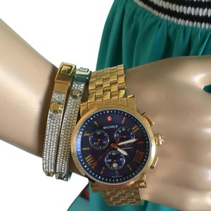 Michele AUTHENTIC MICHELE Sport Sail Large Gold, Navy Dial WITH GOLD BRACELET