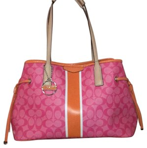 Coach Tote in Pink W/ Orange Trim
