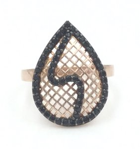 ROSE GOLD PLATED .925 STERLING SILVER BLACK CUBIC ZIRCONIA RING