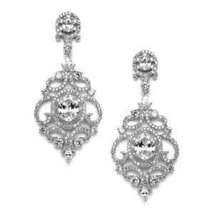 Mariell Victorian Scrolls Silver Platinum Plated Cubic Zirconia Wedding Chandelier Earrings 4553e-s