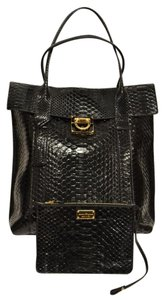 Salvatore Ferragamo Ferragamo Python Sheepskin Leather Shoulder Bag
