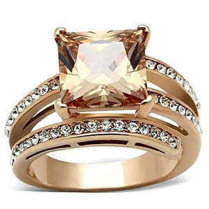 La Bella Rose Rose Gold Stainless Steel Champagne CZ Ring - 07491