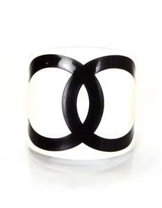 Chanel Chanel Black and White Resin CC Cuff