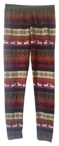 Winter print w/black, rust, burgundy, gray, khaki Leggings
