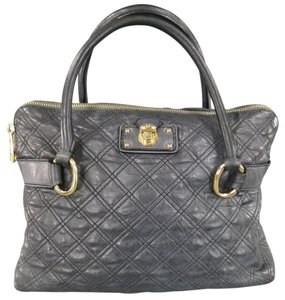 Marc Jacobs Quilted Gold Top Handles Buckle Handle Satchel in Charcoal Gray