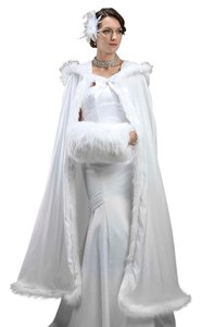 Mariell Full Length Hooded Satin Bridal Cloak with Faux Angora Trim 3368CL-W