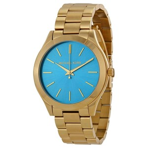 Michael Kors MICHAEL KORS Runway Blue Dial Gold Tone Stainless Steel Ladies Watch