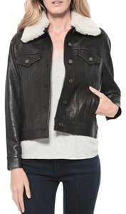VEDA Leather Intermix Motorcycle Jacket