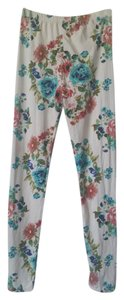 White with multi color floral print Leggings