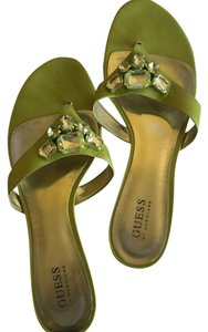 Guess Patent Leather Rhinestones Flat Green Sandals