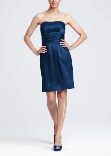 David's Bridal Navy Polyester 83707 Formal Bridesmaid/Mob Dress Size 4 (S)