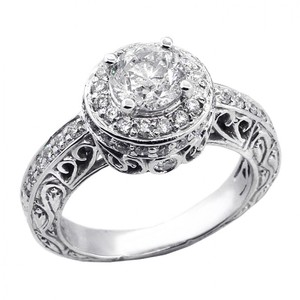 1.59 Cts Round Cut Halo Diamond Vintage Engagement Ring