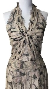 Chanel Floral Gray Silk Lace Dress