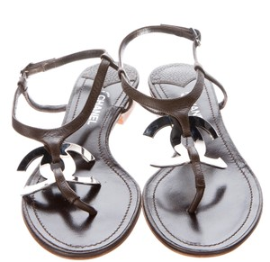 Chanel Ankle Strap Hardware Brown, Silver Sandals